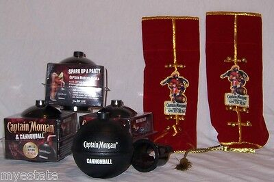 Lot of 4 Captain Morgan Limited Edition Plastic CANNONBALL CUPS & 2 bottle cover