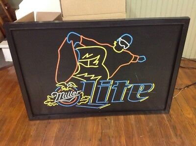 "VINTAGE MILLER LITE BEER LARGE 32""x22"" NEON STYLE WALL SNOWBOARDING LIGHT LAMP"