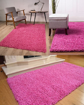 Shaggy Rug Area Dining Room Carpet Floor Mat Home Bedroom 5cm Thick Plain Pink