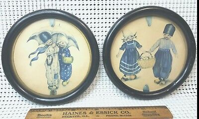 2 Vintage Round Wood Picture Frames-Glass Front - Boy Girl Print Collectable