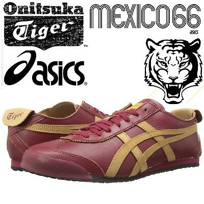 Asics Onitsuka Tiger Mexico 66 Burgundy Trainers Unisex Retro Football Shoes