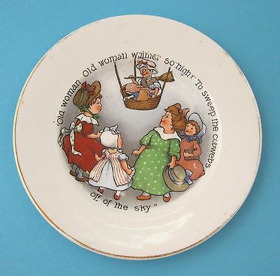 Antique Children's Pottery Plate Woman in Hot Air Ballon To Sweep the Sky T16