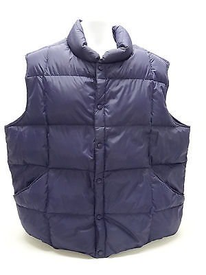 LANDS' END PUFFER DOWN VEST MENS XXL - 50-52 IN NAVY BLUE in EUC
