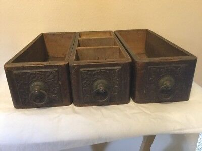 3 Vintage SEWING MACHINE Drawers W/Handles Ornate