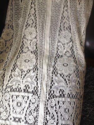 Beautiful Vintage French Cream Lace Door Curtain