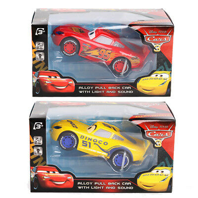 1:24 Disney Pixar Cars 3 McQueen or Dinoco Alloy Pull Back LED Sound Vehicle Toy