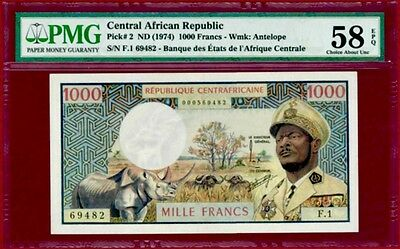 CENTRAL AFRICAN REPUBLIC 1000 FRANCS 1974 / PMG-58 CHOICE aUNC VERY RARE
