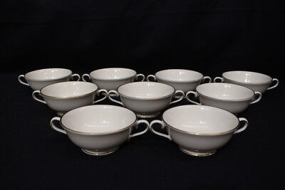 Set of 9 Lenox AMBASSADOR GOLD Footed Cream Soup Bowls w/Round Handle, USA