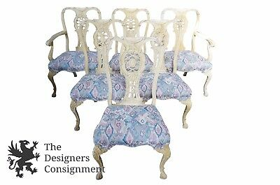 6 Antique Mahogany Carved Provincial Chippendale Dining Chairs German White