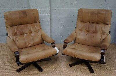 Vintage Danish Pair of Leather & Bentwood Swivel Arm Chairs