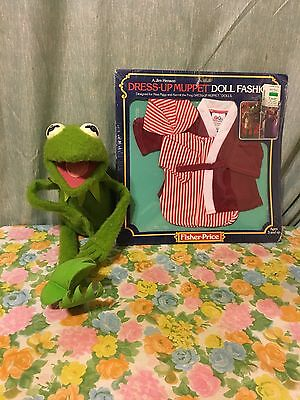 VINTAGE 1976 KERMIT THE FROG FISHER PRICE PLUSH JIM HENSEN Plus New Outfit #850