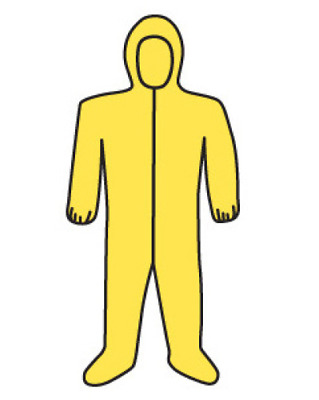 Yellow POLYCOATED Coverall Chemical Hazmat Suit coverall 2XL  NEW IN BAG