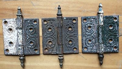 ANTIQUE VICTORIAN EASTLAKE (4 x 4) STEEPLE TOP CAST IRON HINGES, Lot of 3