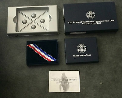 2000 Leif Ericson Dollar $1 Commemorative Uncirculated BOX COA ONLY NO COIN