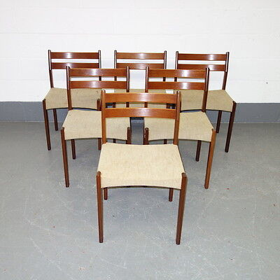 Six Danish teak mid century dining chairs, vintage, Scandinavian, 1960's, retro
