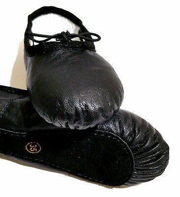 GENUINE LEATHER BLACK BALLET DANCE SHOES Full Sole. Child and Adult Sizes.