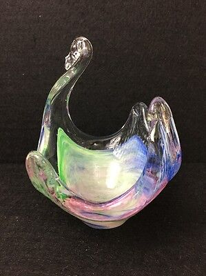 Hand Blown Art Glass Bowl Abstract Freeform Murino Style Swan Bird Pink Blue