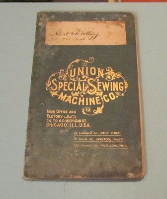 1895 Union Special Sewing Machine Company Shirt & Clothing Machine Parts Catalog