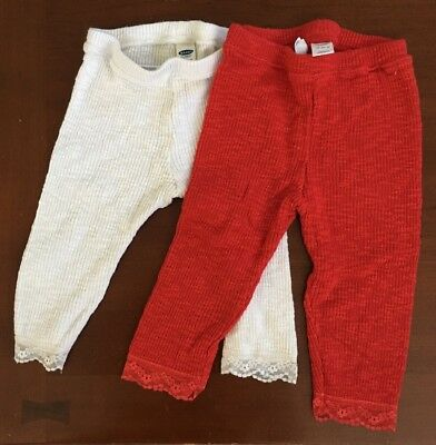 Old Navy 18-24 Months Girl's White & Red Pants With Lace