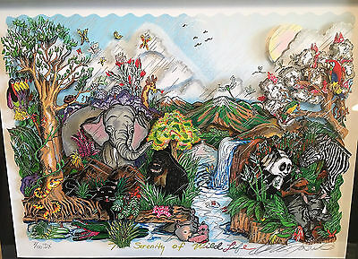"Charles Fazzino 3-D Pop Art  ""Serenity of Wildlife"" - DX Framed"