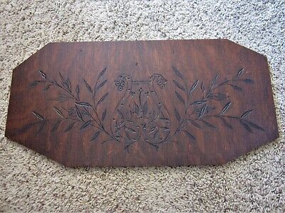 1904 Tiger Oak Eastlake Spoon Carved Musical Lyre Victorian Piano Carving Panel