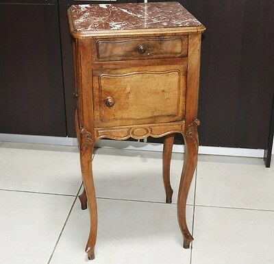 Antique French Cabriole Legs Marble Top Bathroom Hall Bedside Table Cabinet