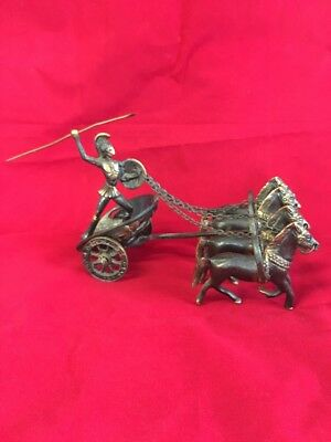Vintage Cast Iron Horse Drawn Chariot With Soldier~ ROMAN/GLADIATOR?