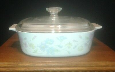 """Corning """"Pastel Bouquet"""" A-2-B / 2 quart covered casserole with A-9-C lid"""