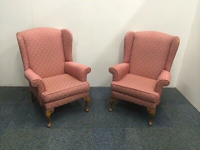 Two Pink Vintage Wingback Fireside Armchairs