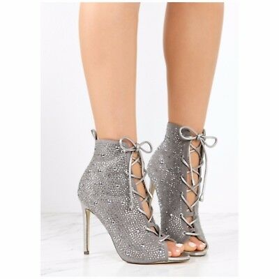 Liliana BARBARA-48 Silver Gray  Lace Up Stiletto Ankle Boot Rhinestone Details