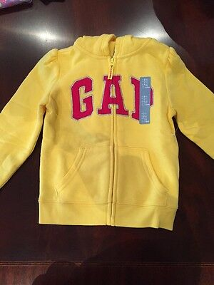 Gap Hooded Sweatshirt Toddler Girls Zip Up Classic Logo New With Tags Size 5 Yrs