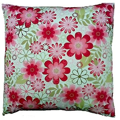 "Pink and Green Vintage Retro Floral  Cotton Cushion Cover Size 16"" x 16"""