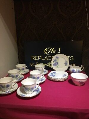 Royal Vale Tea Set Cornflower Blue 20 Piece Cups Saucers Side Plates Jug Sugar