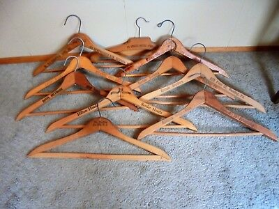 10 Vintage Advertising Wood Wooden Clothes Hangers PARIS NEW YORK ATLANTIC CITY