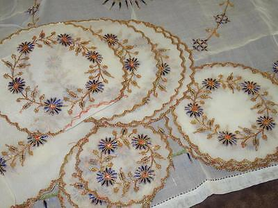 Stunning Antique GOLD & BLUE Embroidered Tablecloth & Doily 14 Pc Set