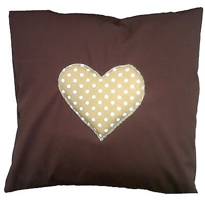 "Brown Cotton with Beige Spotty Heart Cushion Cover Size 16"" x 16"""
