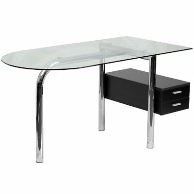 Flash Furniture Glass Computer Desk with Two Drawer Pedestal