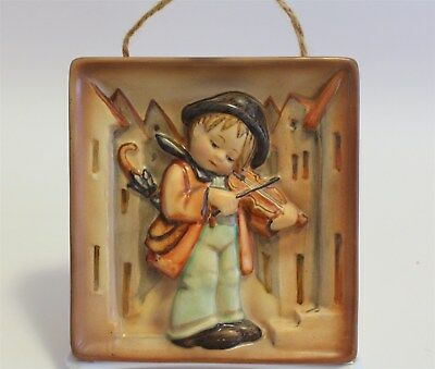 """Hummel Wall Plaque New Style #93 """"Little Fiddler"""" TMK-1 Incised & Stamped Crown"""