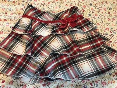 TCP Childrens Place 24 Month Baby Girl Toddler Plaid Red Black Skirt Bow
