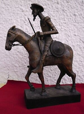 """DON QUIXOTE HORSE / SHIELD  Large  wooden carved figure Ouro Artesania SPAIN 11"""""""