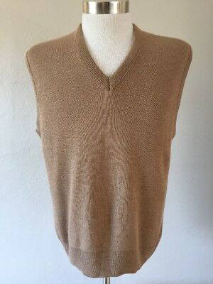 Vintage Jantzen Mens Sweater Vest Light Brown Large Made In Usa New