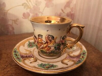 Capodimonte Porcelain Tea Cup and Saucer Hand Painted Signed Italy