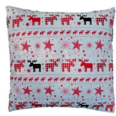 Red Ivory Reindeers and stars Christmas Print Cotton Cushion Cover 16""