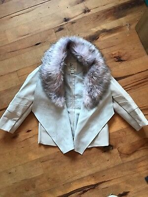 River Island Mini Leather Waterfall Jacket With Faux Fur Collar 18-24 RRP £34