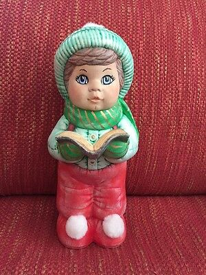 Vintage Dona Child Ceramic Christmas Caroler Red & Green W/ Fuzzy Hat & Shoes