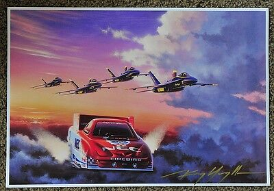 New Kenny Youngblood Signed Us Navy Blue Angels Gary Densham Funny Car Print