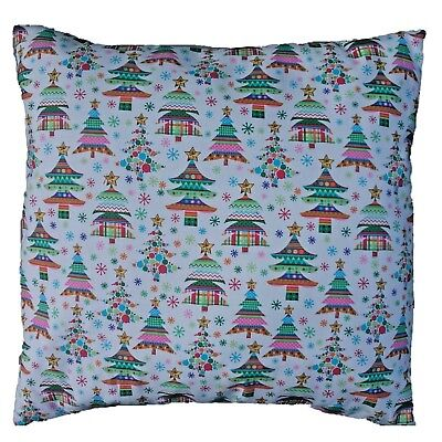 "Multi Coloured Christmas Tree Print Cotton Cushion Cover Size 16"" x 16"""