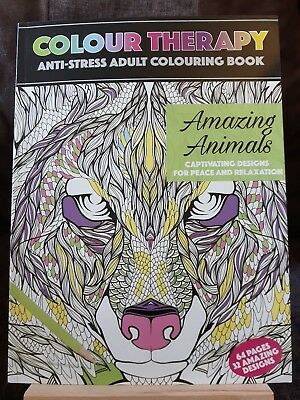 NEW Adult Colouring Book Colour Therapy Book 64 page A4 - AMAZING ANIMALS