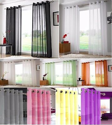 New Pair (2 Panels) Eyelet Ring Top Voile Curtains - Net Voile Curtains Panels