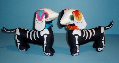 Pair of Sugar Skull - Day of the Dead Dachshund Dog Soft Halloween Figures